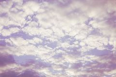 Pink cloudy sky abstract background. Pink sky with white cumulus clouds royalty free stock photography