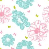 Pink skyblue flowers with butterflies royalty free illustration