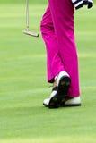 Pink slacks. Golfer wearing pink slacks and white shoes Royalty Free Stock Image