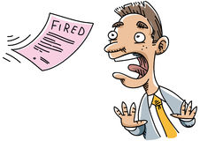 Pink Slip. A cartoon man receives notice that he has been fired Royalty Free Stock Photography