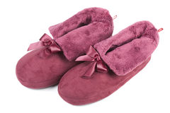 Pink slippers. Isolated on a white background Royalty Free Stock Image