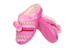 Pink slippers Stock Images