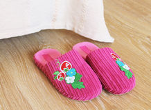 Pink slippers Stock Image