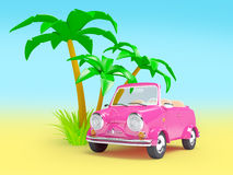Pink small car on the beach Royalty Free Stock Photos