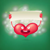 Pink smiley character heart holding paper banner template Royalty Free Stock Photo