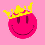 Pink smiley face with crown. Royal pink smiley face with crown royalty free illustration
