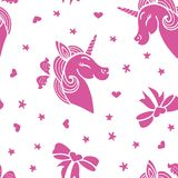 Pink smiling unicorn seamless pattern royalty free illustration