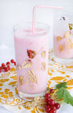 Pink smoothie with fresh berries Stock Photo