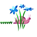 Pink snail art. Abstract pink snail among blue flowers Stock Photo