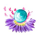 A pink snail with a green shell sits on a Daisy flower and butterflies fly around. Comic watercolor illustration isolated on white vector illustration