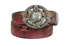 Pink snake leather belt with steel Buddha buckle on white background. Photographed in studio for sale stock photos
