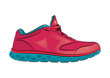 Pink sneaker with blue sole on a white background. Vector illustration. Royalty Free Stock Image