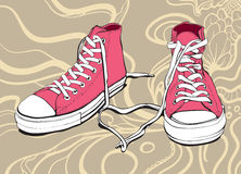 Pink Sneakers. Illustration Of A Pink Sneakers With Lovely Heart On An Abstract Background stock illustration