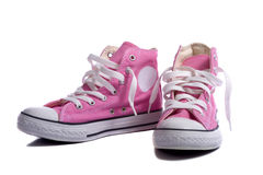 Pink Sneakers or Basketball Shoes Royalty Free Stock Photos