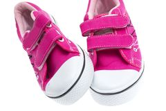 Pink sneakers isolated on white background Stock Image