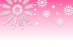 Pink Snowflake Background Border. A background illustration featuring various snowflakes set against gradient pink background Royalty Free Stock Photo