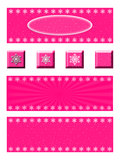 Pink Snowflake Banner and Button Set. A set of three pink winter banners and four buttons. Each banner has snowflakes on a blue background. The buttons Stock Photography
