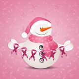 Pink snowman with pink awareness ribbons Stock Photo