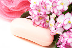 Pink soap. Royalty Free Stock Photos