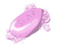 Pink soap with bubbles Royalty Free Stock Photo