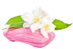 Pink soap with flower Stock Image