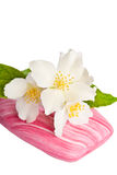 Pink soap with flower Royalty Free Stock Photos
