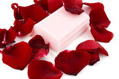 Pink soap with rose petals Stock Images