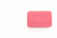 Pink soap. On white background royalty free stock photo