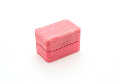Pink soap. On white background royalty free stock image