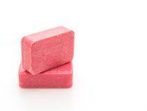 Pink soap. On white background stock photography