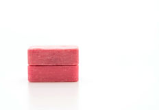 Pink soap. On white background royalty free stock photography