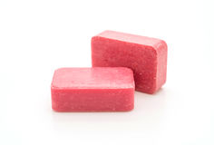 Pink soap. On white background royalty free stock images