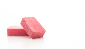 Pink soap. On white background royalty free stock photos