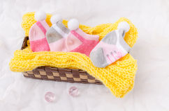 Pink socks gift set for a newborn baby girl Royalty Free Stock Images