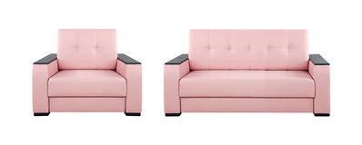 Pink sofa and armchair. Isolated on white background Royalty Free Stock Photos