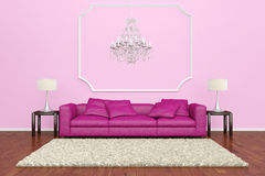 Pink sofa with chandelier Royalty Free Stock Photo