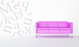 Pink sofa and decorative letters Stock Photos