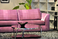 Pink sofa and glass table. Cloth sofa in pink color and closet furniture in living room, shown as home interior environment and comfortable and relax Royalty Free Stock Photography