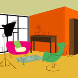 Pink sofa and green chair in living room vector illustration
