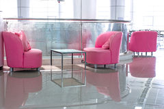 Pink sofa for reading a book in the library. Stock Images