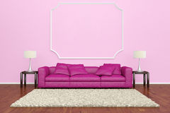 Pink sofa with wall decoration. And brown carpet on wooden floor Royalty Free Stock Photos