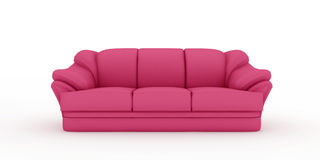 Pink sofa on white background Royalty Free Stock Image