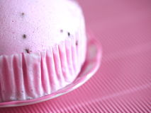 Pink soft cake. On pink background Royalty Free Stock Image