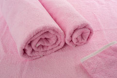 Pink soft towels Stock Images