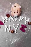 Pink toy pig for presents as a symbol of chinese new year. Pink soft toy pig for presents as a symbol of chinese new year royalty free stock photos