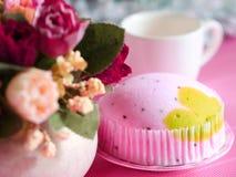 Pink softl cake. Pink soft cake on pink background Stock Photos