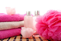 Pink spa bathroom accessory Stock Image