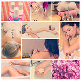 Pink spa collage. Collage of pink spa setting. Beautiful young women getting spa treatment Royalty Free Stock Image
