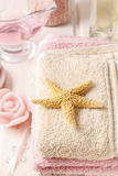 Pink spa set: liquid soap, essential oils, towels and sea salts Royalty Free Stock Photo