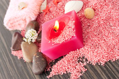 Pink spa setting on natural wood Stock Photo
